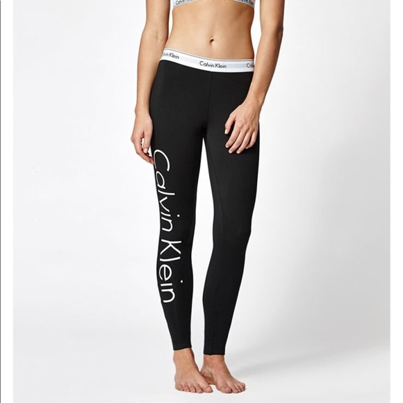 188dfa4221b74b Calvin Klein Pants - Calvin Klein Large Logo Leggings Black Sz SMALL